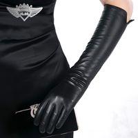 Wholesale Glove Fashion Trend - Wholesale- KLSS Brand Genuine Leather Women Gloves Black Elegant Lady Long Sheepskin Glove High Quality Goatskin Gloves Hot Trend 22-45