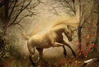 Wholesale Hand Landscapes Forest - Framed Mythological White Unicorn in a Autumn Forest,Genuine Hand Painted Landscape Art oil Painting Canvas Museum Quality Multi sizes SP006