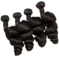 Wholesale Malaysian Loose Wave 4pcs - Malaysian Hair Weave 4pcs lot Peruvian Indian Mongolian Brazilian Hair Extension Loose Wave Natural Color Human Hair Bundles