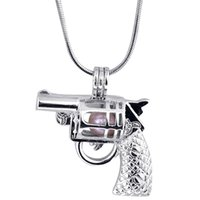 Wholesale Gun Beads - Hot Sale 18KGP Cage Pendants Coll Gun Shape Pearl Gem Beads Cage Lockets Pendants, Wish Pendant Mountings for DIY Necklace Jewelry