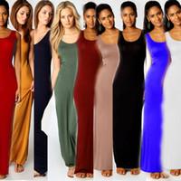 Wholesale Wholesale Women S Silk Clothing - Women Vest Tank Maxi Dress Silk Stretchy Casual Summer Long Dresses Sleeveless Backless Lady Dress Clothing