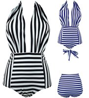 Wholesale One Piece Bathers - 2017 Sexy Women Deep V Neck One Piece Halter Swimsuits Backless Bather Swimwear High Waisted Plus Size S~2XL