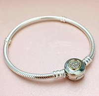 Wholesale Two Tone Bracelets - 925 Sterling Silver Bead Charm PAN MOMEMTS Two-Tone Signature Snake Chain Beads Fit Pandora Bracelet Bangle Jewelry