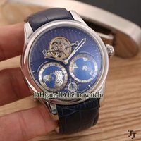 Wholesale Tourbillon Cheap - High Quality Luxury Brand Cheap New Collection Villeret 111675 115053 Tourbillon Automatic Mens Watch Geospheres Leather Strap Sport Watches