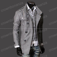 Men black mens trench coat - Fashion Stylish Men s Trench Coat Winter Jacket mens mid long slim Double Breasted Coat Overcoat woolen Outerwear M XXXL NEW ARRIVE hight