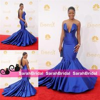 Wholesale Emmy Awards V Neck Ruffle - Keke Palmer Emmy 12y 2017 Awards Sexy Royal Blue Satin Mermaid Sexy Evening Dresses Deep V-neck Celebrity designer Formal Party modest Gowns