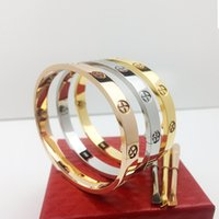 Wholesale Rose Style Box - New style silver rose 18k gold 316L stainless steel screw bangle bracelet with screwdriver and original box screws never lose