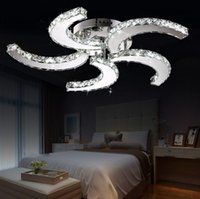 Wholesale Remote Control Clear - Free Shipping Wholesale Or Retail Cyclone Style 5 Lights Clear champagne Crystal Led Ceiling Light D64*h11cm LED Ceiling Lamp LLFA