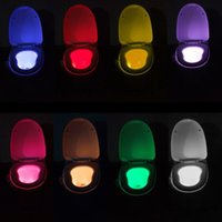 Wholesale Wholesale Garden Seats - Hot Selling Bathroom Toilet Nightlight LED Body Motion Activated On Off Seat Sensor Lamp 8 Color hotel, restaurant