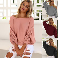 Wholesale Dolman Sweaters - Autumn New Style Women's Tops Tees Women's Knits off-the-shoulder Sweater Draped Design 4 Colors Free Shipping