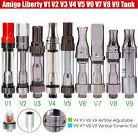 Wholesale Cartridge V9 - Authentic Amigo Liberty V1 V5 V6 V7 V8 V9 Tank Cartridges 510 Thick Oil BUD wax CO2 Vaporizer Airflow Ceramic Coils iTsuwa Atomizer