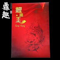 Wholesale Tattoo Book Carp - Carp Pattern Tattoo Manuscript Professional Tattoo Books Falsh Sketch Colorful Carp King Pattern A3 Size TB2251