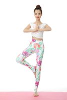 Wholesale Pattern Yoga Pants - Digital printing Flower pattern Sports Leggings Yoga Pants Patchwork Fitness Skinny Pants Slim Women Gym Leggings Push Up Sexy