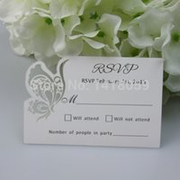 Wholesale Personalized Blank Cards - Wholesale-50pcs Personalized Butterfly RSVP Cards Wishing Well Cards With Blank Envelopes