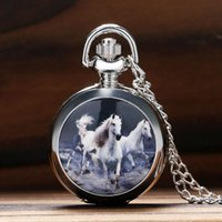Wholesale Necklace Small Pocket Watches - Wholesale-Fashion Cool Whitehorse Theme Small Size Qaurtz Fob Pocket Watch With Necklace Sweater Chain Gift To Men Women