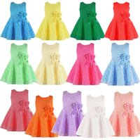 Wholesale Girls Tutu Christmas Outfit - 13colors Girls ribbon Flower lace sleeveless dress infants baby summer solid color princess skirt children's outfits for 1-4T