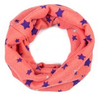 Wholesale Scarves Korea - Wholesale- Black Pink Red White Star Print Winter Warm Scarves Ring Baby Cotton Warm Neckerchief Korea Style Cute Kids Children Scarves