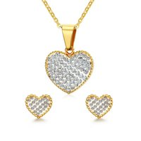 Wholesale S Heart Necklace - Meaeguet Heart Jewelry Set For Women With Cubic Zirconia Earring+Necklace With Free Chain Female Wedding Jewelry S-166