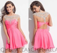 Wholesale Watermelon Art - Chiffon Scoop Watermelon red Cocktail Dresses Beads Crystal Rachel Allan Custom Made Open Back Homecoming Dress Short Party Gowns H1049