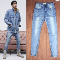 Wholesale Men Blue Jeans Size 36 - Mens Jeans Fear Of God Ripped Jeans KANYE WEST Justin Bieber Famous Brand Designer Blue Rock Star Hip Hop Punk Denim Male Pants
