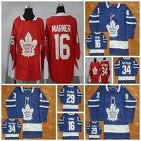 ingrosso acero rosso foglia logo-2017 Nuovo LOGO Toronto Maple Leafs Maglie Mens 16 Mitchell Marner 34 Auston Matthews 29 William Nylander Hockey maglie cucite rosso nero