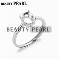 Wholesale Gemstones 8mm Faceted - 5 Pieces Ring Setting for 6*8mm Oval Cabochons or Faceted Gemstones 925 Sterling Silver Ring Base