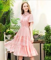 Wholesale Ladies Pink Doll Dress - Summer Women's Fashion Pink Bohemian Chiffon Long Dresses Ladies' Elegant Doll Collar Princess Dresses Girls Short Sleeve High-Waisted Dress