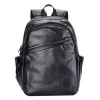 Wholesale red color travel backpacks for men resale online - Fashion Men s PU Leather Backpack High School Bags for Teenages Black Brown Color Fashion Rucksacks Travel Backpacks CVS001