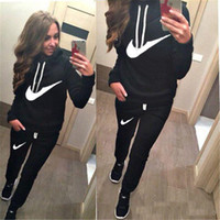 Wholesale Black Track Suits - Hot Sale! New Women active set tracksuits Hoodies Sweatshirt +Pant Running Sport Track suits 2 Pieces jogging sets survetement femme clothes