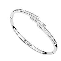 Wholesale Bangles Nickel Free - nickel free famous brands design jewelry for women Swarovski elements crystal bracelet manchette femme 2017 best gift for Valentine's Day