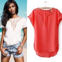 Wholesale Solid Colorful Shirt - Wholesale- 2016 Summer O Neck Bird Printed Women Tops Colorful Short Sleeve Female T-Shirts Batwing Loose Chiffon Shirt Feminino LJL001