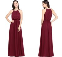 Wholesale Beach Bridesmaid Halter Dresses - 5 Colors In Stock Robe de Soiree Burgundy Country Bridesmaid dresses Long 2017 Cheap Chiffon Formal Dress Party Gown For Beach Wedding