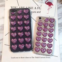 Wholesale Soft Jelly Cases For Iphone - Soft TPU Phone Case Cover 3D Peach Heart Bling Glitter Jelly Love Shock Absorbing Cell Phone Back Bumper Clear Cases for iPhone 7 6s plus 5
