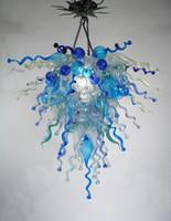 lampes de table bleu achat en gros de-Fancy Blue Bubbles Lamps Chaîne Suspendue Dessus de table Pièces centrales Lustre en verre soufflé Style d'éclairage