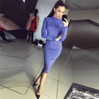 Wholesale Thick Robes - Shining Women Dress Thick Knitted Sexy Black Striped Sheath Party Dresses Longsleeve Female Robes Vestidos