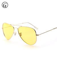Wholesale Yellow Night Vision Glasses - Wholesale-2016 High Quality Luxury Brand Designer Pilot Night Vision Driving Glasses Polarized Sun Glass Yellow Lens 62mm Gold Frame