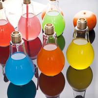 Wholesale Shop Ideas - Light Bulb Shape Glass Beverage Tea Water Drink Bottle Cup With Lid Terrarium For Home Coffee Shop Decor Idea Gift
