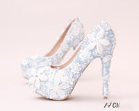 Wholesale Navy Bridesmaids Shoes - White Blue Lace Applique Bridal Bridesmaid Wedding Shoes 2017 Prom Evening Night Club Party Super High Heels Hand-made