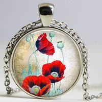 Wholesale Oriental Pendants - Oriental Poppies necklace Red Poppy pendant Remembrance Cabochon Glass Poppy Gift Poppy
