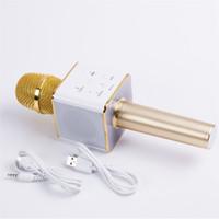 hoparlör akıllı telefon toptan satış-Q7 El Mikrofonu Bluetooth Kablosuz KTV Hoparlör Mic Ile Smartphone Için Mikrofono El Hoparlör Taşınabilir Karaoke Player