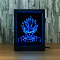 3D Goku LED Photo Frame IR Remote 7 RGB Lights AAA Battery ou DC 5V Factory Wholesale Dropship Frete grátis