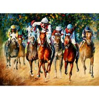 Wholesale Oil Painting Horses Racing - Hand painted contemporary art horse race Leonid Afremov High quality knife oil paintings