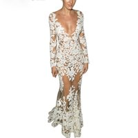 full sleeve lace maxi dress UK - Crochet Night Dress With Full Sleeve Women Plunging Neck Mesh Patchwork Sexy White Lace 2016 Long Maxi Dresses Women