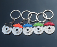 Wholesale Shape Keychain - 2016 New Creative Hot Sale Auto Parts Model zinc alloy Motorcycle Car Disc Brake Shape Keychain Keyring Key Chain Ring Fob