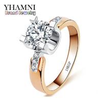 18kgp verlobungsring großhandel-YHAMNI Marke Schmuck Haben 18KGP Stempel Ring Gold Set 1 Karat 5A Sona Diamant Engagement Hochzeit Ringe Für Frauen 18KR015
