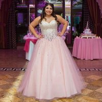 Wholesale cheap boned corsets - Plus Size 2017 Cheap Hot Pink Quinceanera Dresses Sweet 16 Pageant Dress Vestidos Sweetheart Tulle Beaded Crystal Prom Occasion Gowns Corset