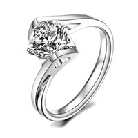 Wholesale Unique Kisses - Angle Kiss Ring Unique Sapphire Jewelry Round Clear Zircon Stone Heart Ring White Gold Filled Wedding Engagement Rings For Women Girl Friend