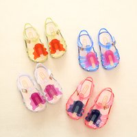 Wholesale pvc jelly sandals kids online - 2018 New Kids Mini Melissa Jelly Sandals For Baby Girls ice cream Children Summer Cute Cartoon Beach Shoes Infantil Sandalia