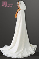 Wholesale Lace Ponchos - Fall Winter Wedding Cape Custom Made Hooded Lace Trim Bridal Accessories Cheap White   Ivory Women Formal Cloaks   Wraps   Poncho