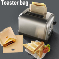Wholesale Sandwich Bags Wholesale - 16*16.5CM Reusable Toaster Bag Non Stick Bread Bag Sandwich Bags PTFE Coated Fiberglass Toast Microwave Heating Pastry Tools